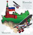 Russia country infographic map in 3d vector image