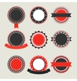 Black and red vintage badges templates vector image
