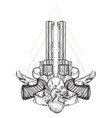 contour image of two revolvers and human heart vector image