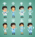 doctors with simbols set vector image