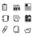 Document Office Icons with refection vector image