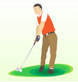 golf swing front view - vector image