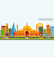 manama skyline with color buildings and blue sky vector image