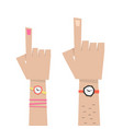 Hand with forefingers of man and woman vector image