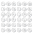 white alphabet icons vector image vector image