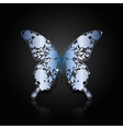 Blue steel abstract butterfly on black background vector image