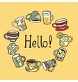 Hello Card with doodle tea cups vector image