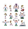 Icon Set Of Fitness Characters vector image