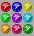 screwdriver icon sign symbol on nine round vector image