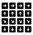 Set of silhouettes arrows vector image