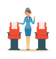 stewardess character in blue uniform serving vector image