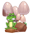 A sad frog near the mushrooms vector image vector image