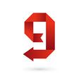 Letter G number 9 arrow ribbon logo icon design vector image