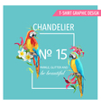 Tropical Leaves Flowers and Parrot Birds vector image vector image
