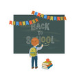 back to school background with a blackboard and a vector image