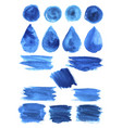 blue watercolor blob stains shapes icons vector image