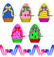 Easter eggs with ribbons and ears of rabbit vector image