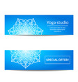 set of banners with white mandala for yoga studio vector image