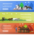 Set of horizontal banners on horses theme vector image