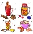 Warm Drinks Icon Set vector image