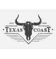 western logo with bull skull vector image