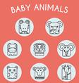 Wild Baby Animals Icons Set vector image