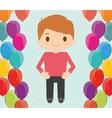 Boy cartoon and happy birthday design vector image