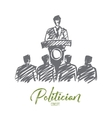 Hand drawn politician orating from tribune vector image