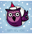 Owl on winter background vector image vector image