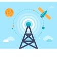 antenna tower and satellite vector image vector image