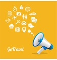 Megaphone and icon Travel concept vector image