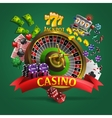 Casino Poster On Green Background vector image