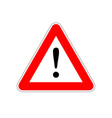 attention bright red warning sign on white vector image