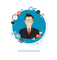 business concept flat office man with icons vector image