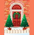 door with wreath merry vector image