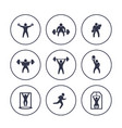 gym fitness exercises icons in circles over white vector image