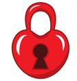 padlock in the shape of a red heart vector image