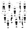 set of silhouette of girl in sport dress vector image