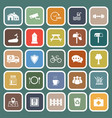 village flat icons on green background vector image