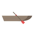 Wooden boat with oar vector image