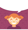 cartoon girl in glasses with speech bubble vector image vector image