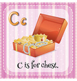 Flashcard letter C is for chest vector image