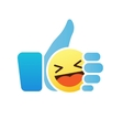 Thumb up emoticon like icon with smiley emoji vector image vector image