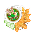 Thai Green Curry with Boiled Egg and Fried Wonton vector image vector image