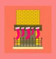 flat shading style icon fireplace christmas socks vector image