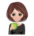 Smiling woman with apple vector image