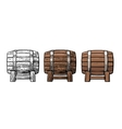Wooden barrel Color vintage engraving and flat vector image