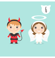 two happy cute kids characters Boy in imp or vector image
