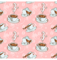 Steam coffee cups seamless pattern vector image