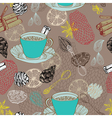 Seamless doodle background with tea vector image